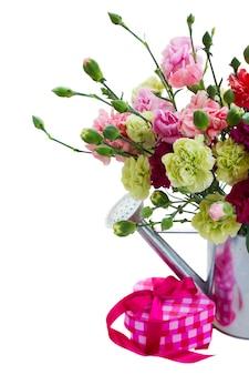 白いスペースで隔離のギフトボックスとカーネーションの花の束