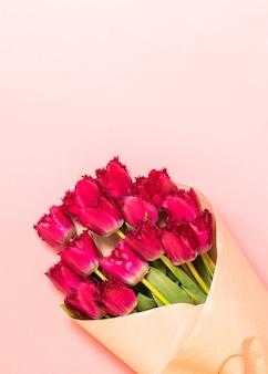 부드러운 파스텔 핑크에 고립 된 섬세한 봄 튤립의 무리