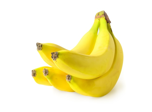 Букет из пяти бананов, изолированные на белом фоне