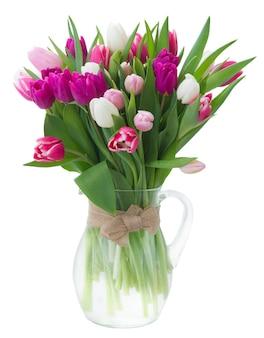 新鮮な紫、ピンク、白のチューリップの花の束