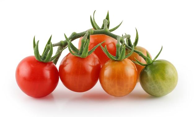 Букет из свежих красных помидоров черри с изолированными зелеными стеблями