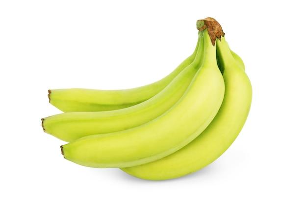 Букет зеленых бананов на белом фоне