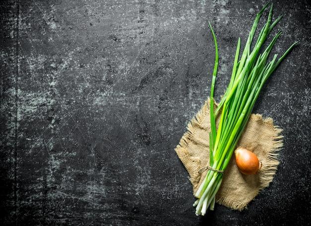 Бумага, связка зеленого лука с луком. на темном деревенском столе