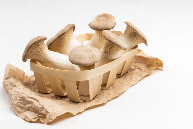 종이에 고리 버들 바구니에 왕 굴 버섯의 무리