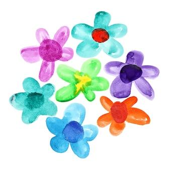 白い背景の上に分離された色とりどりの水彩花の束