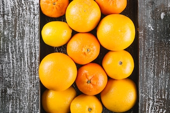 Bunch of oranges and tangerines