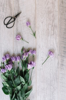 Bunch of purple flowers and scissors on wooden background