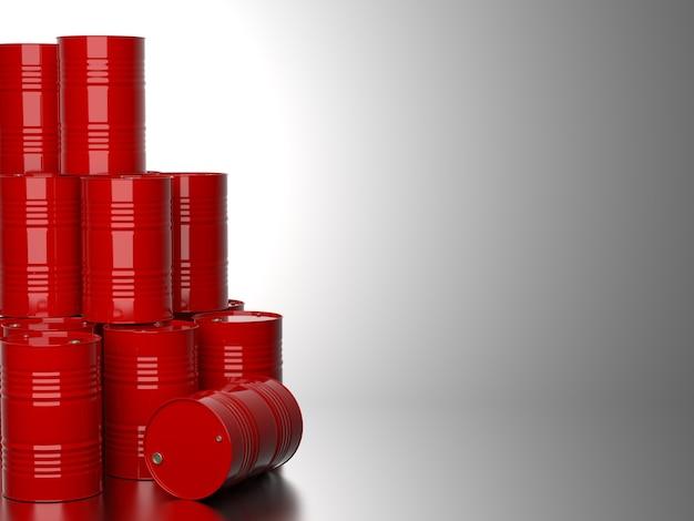 灰色の背景に油のための赤いバレルの束