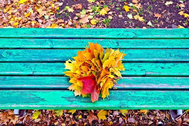 公園の緑の木製ベンチに赤、黄色、オレンジ色のカエデの葉の束