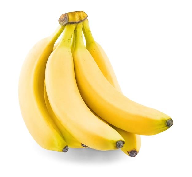 Связка спелых бананов на белом