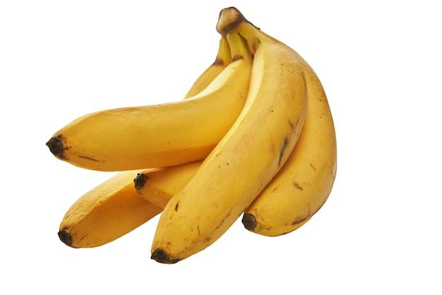 白い背景で隔離の熟した黄色のバナナの束