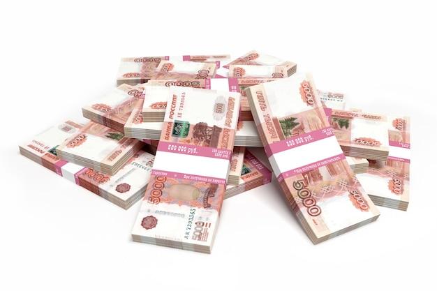 Связка российских пятитысячных банкнот 3d иллюстрация
