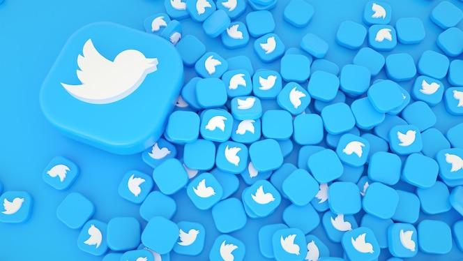 트위터 아이콘 및 로고 3d 배경의 무리