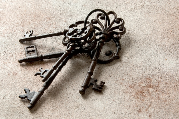 Bunch of old cast-iron keys