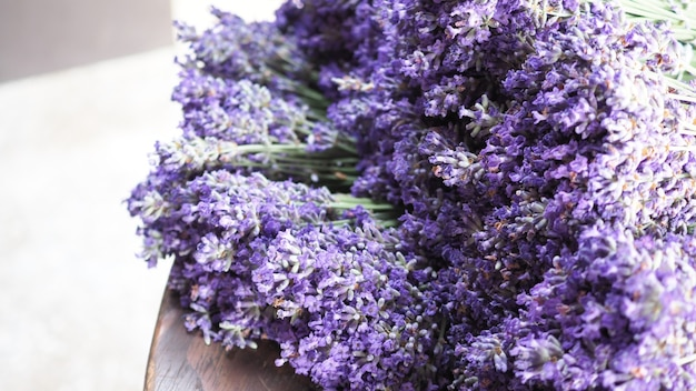나무 질감 테이블에 보라색 라벤더 꽃의 무리 또는 꽃다발 후라노에서 라반둘라의 그룹
