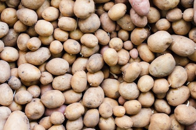 Bunch of organic potatoes food background