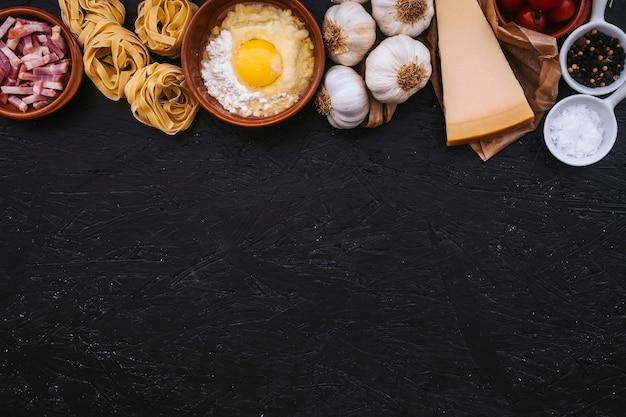 Bunch of pasta ingredients