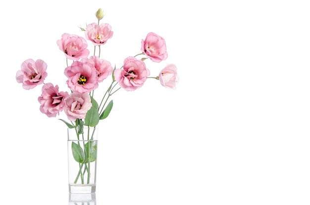 Bunch of pink eustoma flowers in glass vase