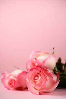 Bunch of pink roses on concrete background. surprise valentine's day, soft color toned. copy space
