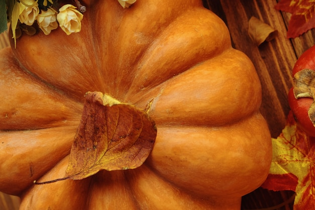 A bunch of pumpkins and apples. thanksgiving dinner. autumn fruit with plate and cutlery. thanksgiving autumn background