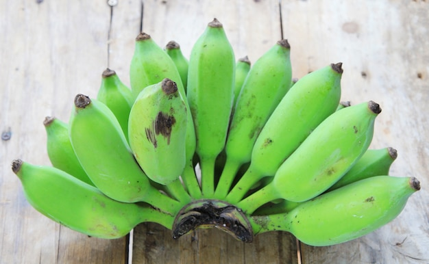 Bunch of raw green bananas