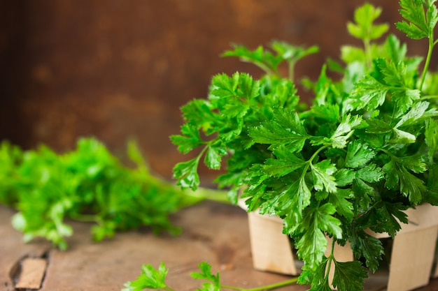 Bunch of raw parsley wooden table