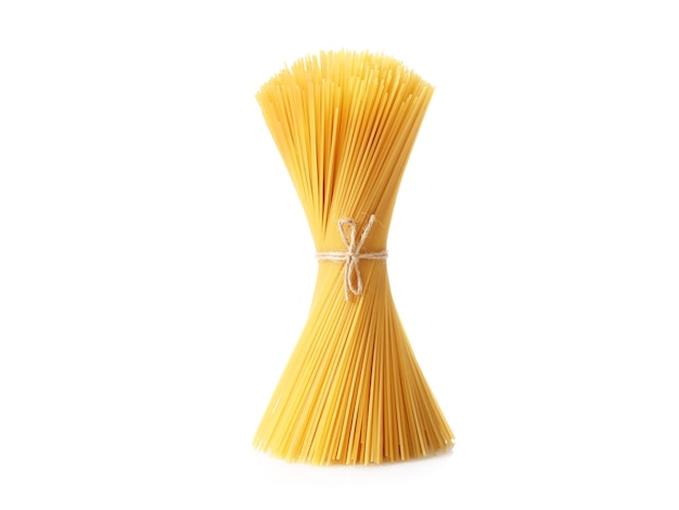 Bunch of raw spaghetti tied with rope isolated on white.
