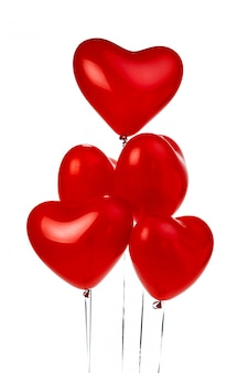 Bunch of red heart shaped balloons