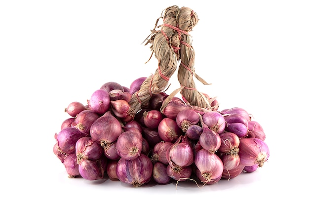Bunch of red onions isolated on white