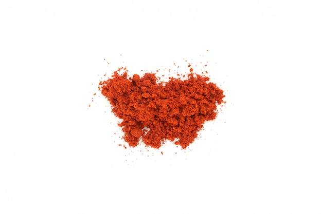 Bunch of red pepper powder isolated on white, top view
