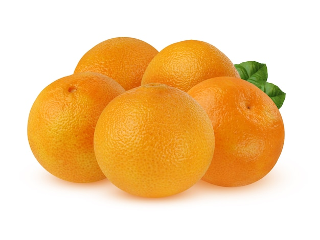 Bunch of ripe mandarins with leaves isolated on a white background