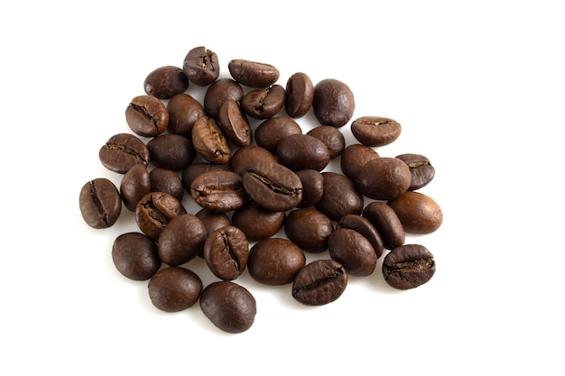 Bunch of roasted coffee beans isolated on white background.