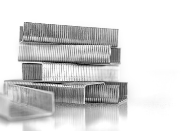 Bunch of staples for staples isolated on a white background