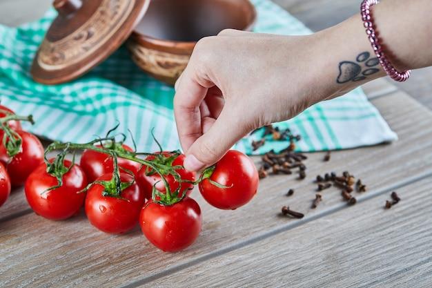 Mazzo di pomodori con ramo e donna che tiene un pomodoro sulla tavola di legno