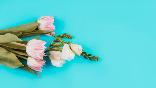 Mazzo di fiori bianchi e rosa