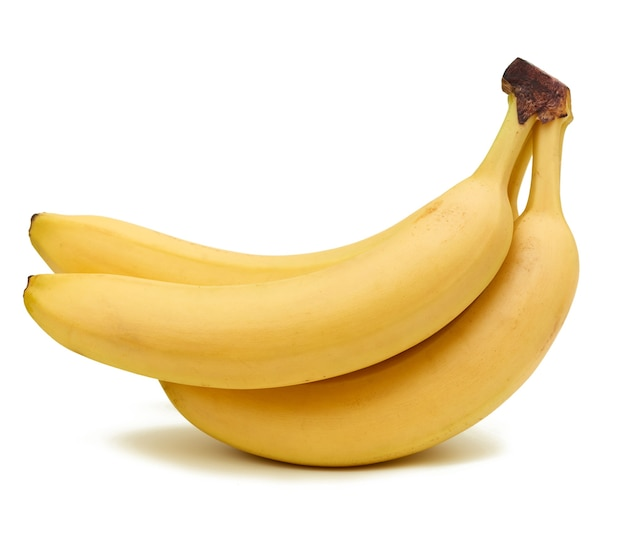 Bunch of yellow ripe bananas in peel isolated on a white