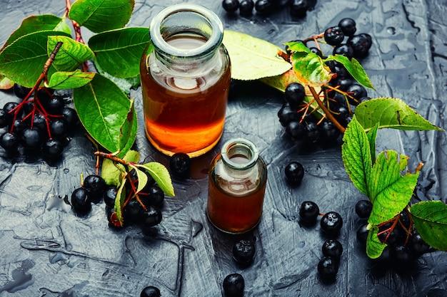 신선한 chokeberry의 무리입니다. 건강 음료입니다. 약초와 동종 요법