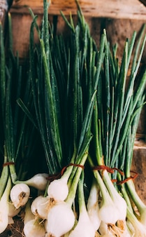Bunches of fresh onions