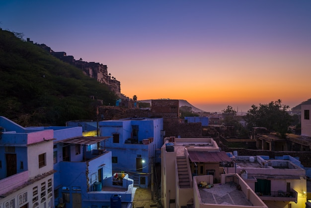 Bundi cityscape at dusk. the majestic city palace on lake pichola, travel destination in rajasthan, india