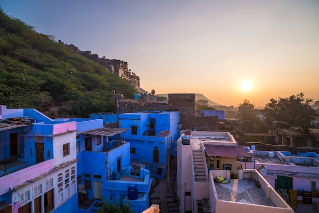 Bundi cityscape at sunset, travel destination in rajasthan, india