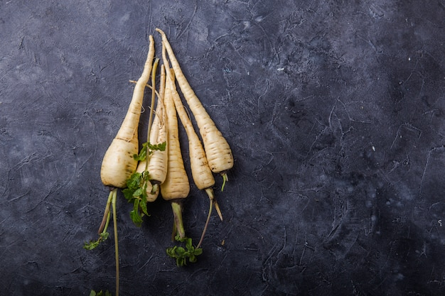 Bundle of fresh organic parsnip  over gray texture surface .