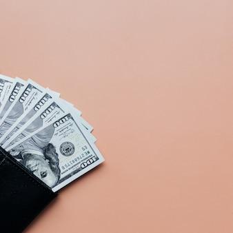 베이지 색 바탕에 지갑에 달러의 번들입니다. 고품질 사진