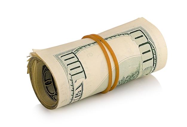 Связка долларов изолирована крупным планом