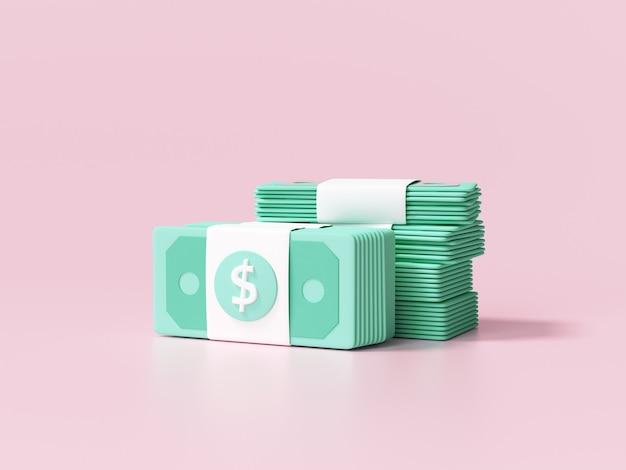 돈 뭉치, 분홍색 배경의 지폐, 사업 투자 이익, 돈 절약 개념. 3d 렌더링 그림