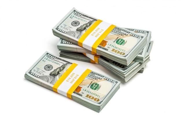 Bundles of 100 us dollars 2013 edition banknotes