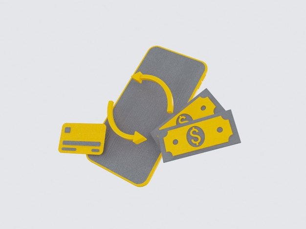 번들 현금 및 부동 동전 회색 배경 3d 그림 렌더링에 노란색 아이콘을 설정