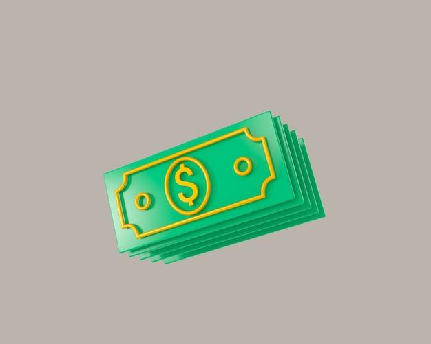 번들 현금 및 부동 동전 흰색 배경 3d 그림에 고립 된 아이콘 세트