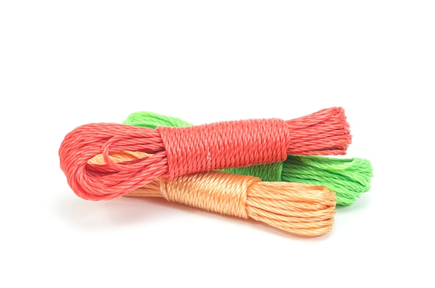 Bundles of colorful nylon ropes