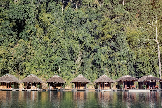 Bungalow in the jungle on the cheow lan lake