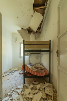 Bunk beds in a ruined room